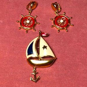 Vintage Avon Nautical Brooch & Clip Earrings Set